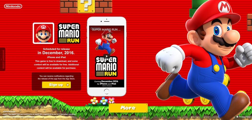 Άνοιξε το site του Super Mario Run