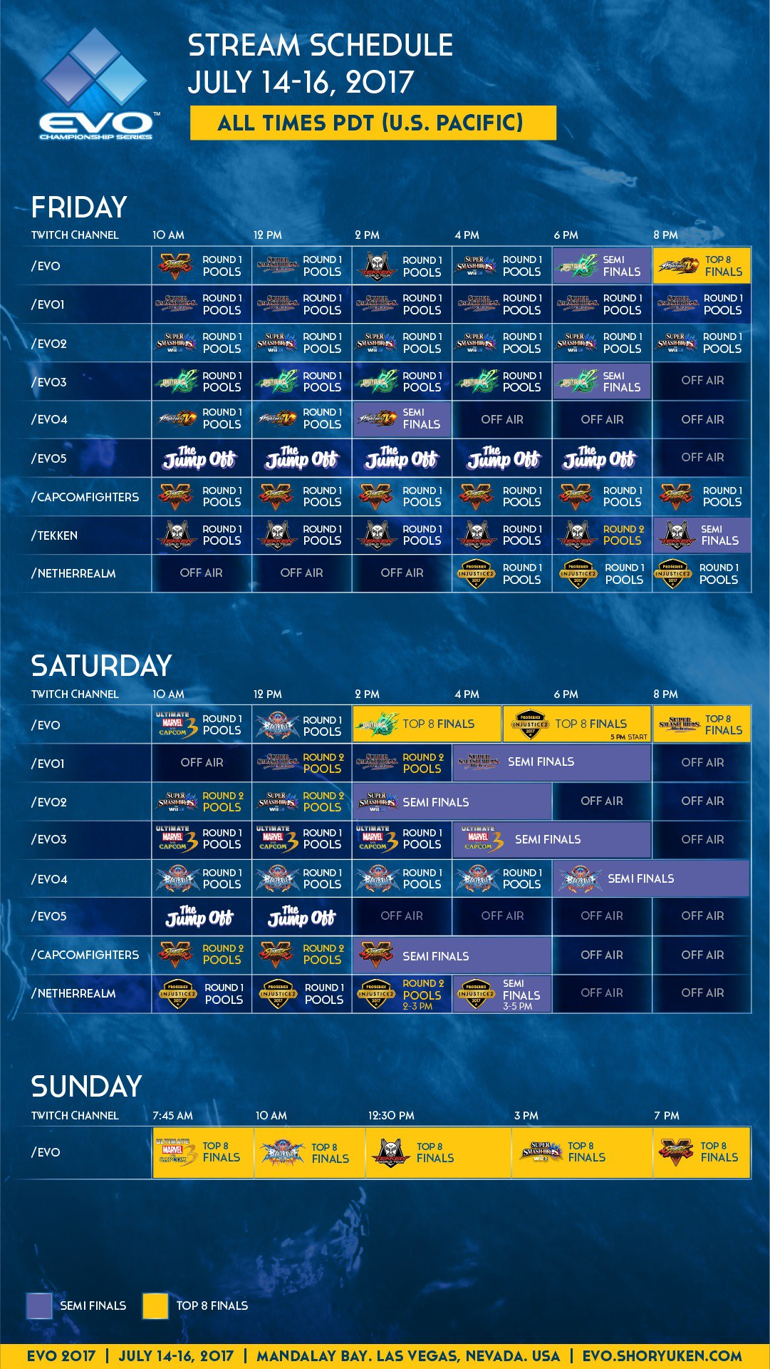 Evolution Tournament Schedule 1
